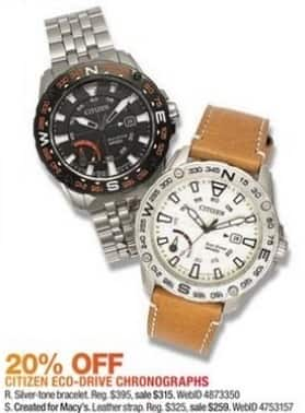 Macy's Black Friday: Citizen Eco-Drive Men's 44mm Brown Leather Strap Watch for $259.00