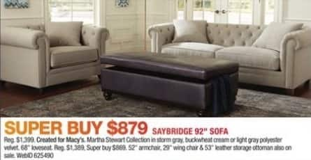 "Macy's Black Friday: Martha Stewart Saybridge 92"" Sofa for $879.00"