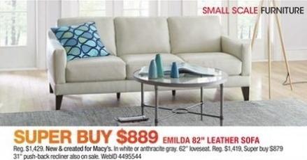 "Macy's Black Friday: Emilda 82"" Leather Sofa for $889.00"