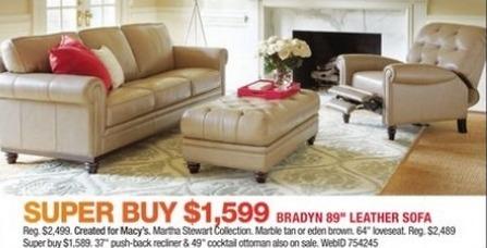 "Macy's Black Friday: Bradyn 89"" Leather Sofa for $1,599.00"