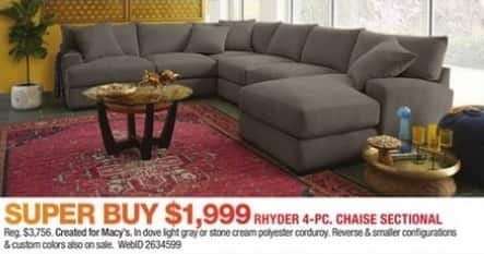 Macy 39 s black friday rhyder 4 pc chaise sectional for - Chaise black friday ...