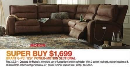 """Macy's Black Friday: Brant 6-pc 129"""" Power-Motion Sectional for $1,699.00"""