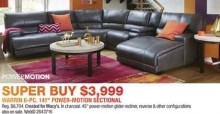 "Macy's Black Friday: Warring 6-pc 141"" Power-Motion Sectional for $3,999.00"
