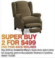 Macy's Black Friday: (2) Edie Push-Back Recliners for $499.00