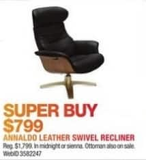 Macy's Black Friday: Annaldo Leather Swivel Recliner for $799.00