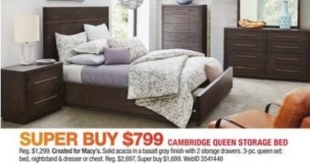 Macy's Black Friday: Cambridge Queen Storage Bed for $799.00