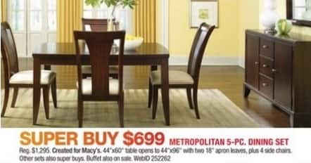 Macy's Black Friday: Metropolitan 5-pc Dining Set for $699.00