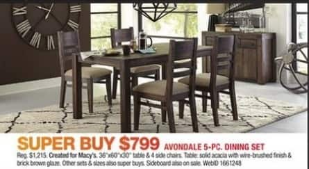 Macy's Black Friday: Avondale 5-pc Dining Set for $799.00
