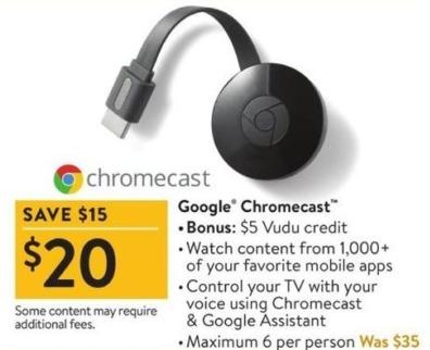 Walmart Black Friday: Google Chromecast + $5 Vudu Credit for $20.00