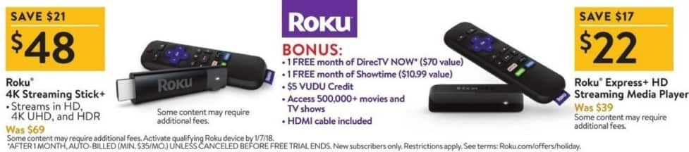 Walmart Black Friday: Roku Express+ HD Streaming Media Player + 1 Month DirecTV Now + 1 Month Showtime + $5 VUDU Credit for $22.00