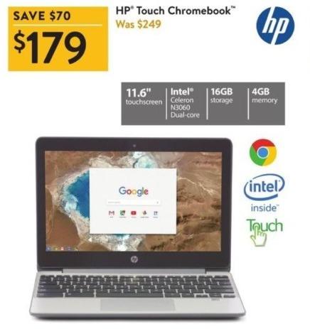 """Walmart Black Friday: HP 11.6"""" Chromebook: Intel N3060, 16GB Internal, 4GB RAM for $179.00"""