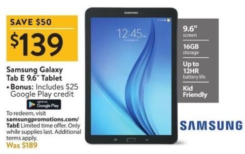 "Walmart Black Friday: 16GB Samsung Galaxy Tab E 9.6"" Tablet + $25 Google Play Credit for $139.00"