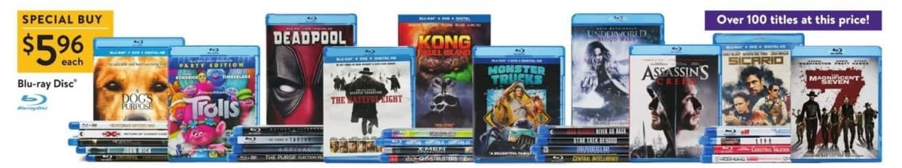 Walmart Black Friday: Select Blu-Ray Movies: Deadpool, Trolls, Kong Skull Island & More for $5.96