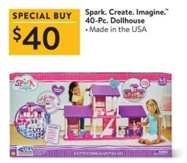 Walmart Black Friday: Spark. Create. Imagine. 40-pc Dollhouse for $40.00