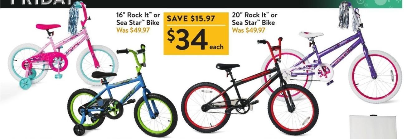 "Walmart Black Friday: 16"" Rock It or Sea Star Bike for $34.00"