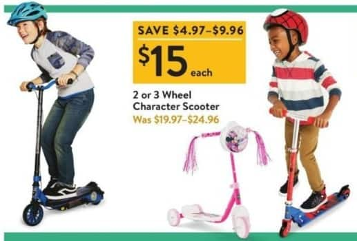 Walmart Black Friday: 2 or 3 Wheel Character Scooter for $15.00