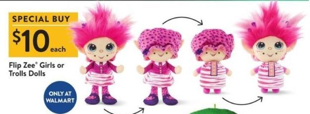 Walmart Black Friday: Flip Zee Girls or Trolls Dolls for $10.00