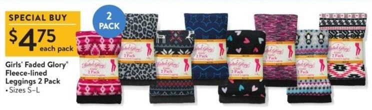 Walmart Black Friday: Faded Glory Girls' Fleece-Lined Leggings 2 Pack for $4.75