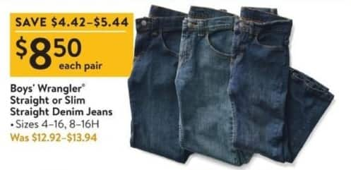 Walmart Black Friday: Wrangler Boys' Straight or Slim Straight Denim Jeans for $8.50