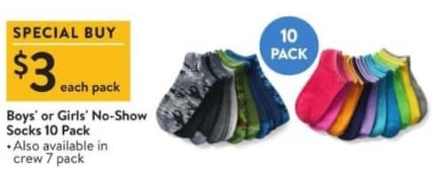 Walmart Black Friday: Boys' or Girls' 10-Pack No-Show or 7-Pack Crew Socks for $3.00