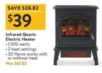 Walmart Black Friday: Infrared Quartz Electric Heater for $39.00