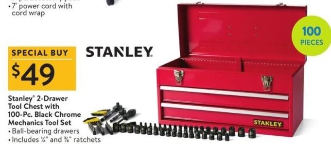Walmart Black Friday: Stanley 2-Drawer Tool Chest w/ 100-pc Black Chrome Mechanics Tool Set for $49.00