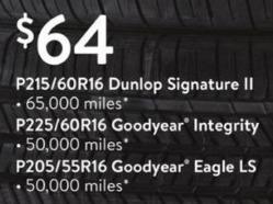 Walmart Black Friday: Dunlop Signature II P215/60R16 Tires for $64.00