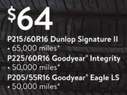 Walmart Black Friday: Goodyear Integrity P225/60R16 or Eagle LS P205/55R16 Tires for $64.00