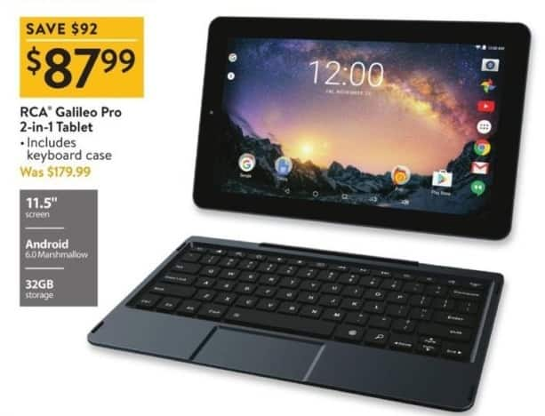 "Walmart Black Friday: 32GB RCA Galileo Pro 11.5"" 2-in-1 Tablet for $87.99"