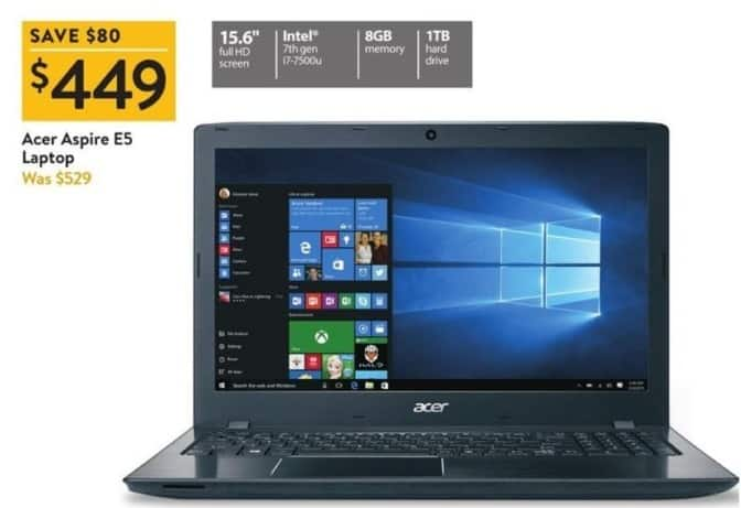"Walmart Black Friday: Acer Aspire E5 15.6"" Laptop: i7-7500u, 1TB, 8GB for $449.00"