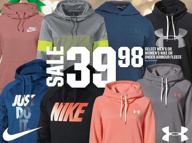low priced a1bc3 dd221 Dicks Sporting Goods Black Friday  Under Armour or Nike Women s or Men s  Fleece, Select Styles for  39.98