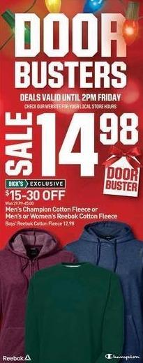 Dicks Sporting Goods Black Friday: Champion or Reebok Men's Cotton Fleece for $14.98
