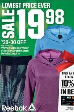 Dicks Sporting Goods Black Friday: Reebok Women's Velour Fleece or Stretch Cotton Novelty Legging for $19.88