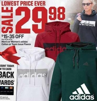 Dicks Sporting Goods Black Friday: Adidas Men's or Women's Cotton or Team Issue Fleece for $29.98