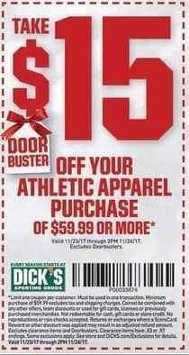 Dicks Sporting Goods Black Friday: Athletic Apparel Purchase of $59.99 or More - $15 Off