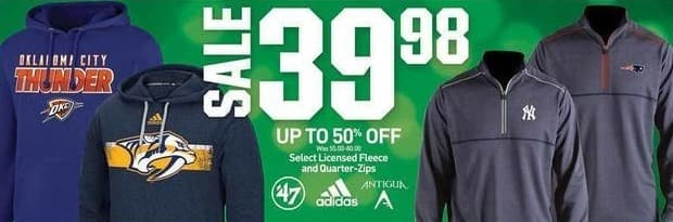 Dicks Sporting Goods Black Friday: Adidas, '47, and Antigua Licensed Fleece and Quarter-Zips, Select Styles for $39.98