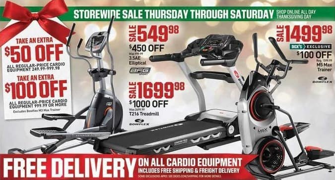 Dicks Sporting Goods Black Friday: Regular-price Cardio Equipment Purchase $999.99 or More - $100 Off