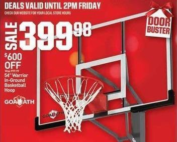 """Dicks Sporting Goods Black Friday: Goaliath 54"""" Warrior In-Ground Basketball Hoop for $399.98"""