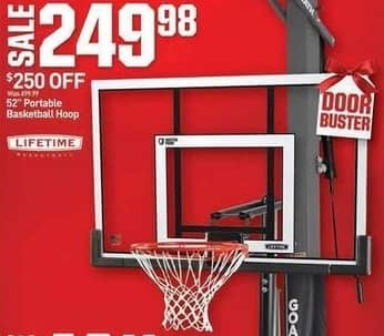 """Dicks Sporting Goods Black Friday: Lifetime 52"""" Portable Basketball Hoop for $249.98"""