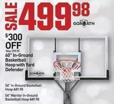 "Dicks Sporting Goods Black Friday: Goaliath 60"" In-Ground Basketball Hoop w/ Yard Defender for $499.98"