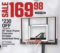 "Dicks Sporting Goods Black Friday: Lifetime 50"" Steel-Frame Clearview Portable Basketball Hoop for $169.98"