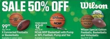 Dicks Sporting Goods Black Friday: Wilson Special Edition Footballs, Basketballs and Volleyballs - 50% Off
