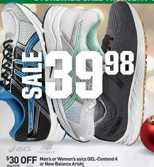Dicks Sporting Goods Black Friday: Asics Gel-Contend 4 or New Balance Arishi Women's Shoes for $39.98