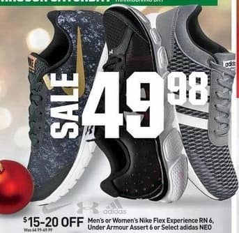 Dicks Sporting Goods Black Friday: Under Armour Assert 6, Nike Flex Experience RN 6 or Select Adidas NEO Men's Shoes for $49.98