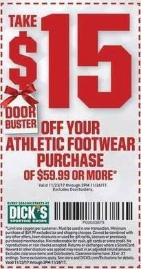 Dicks Sporting Goods Black Friday: Athletic Footwear Purchase of $59.99 or More - $15 Off