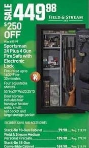 Dicks Sporting Goods Black Friday: Field & Stream Sportsman 24 Plus 4 Gun Fire Safe w/ Electronic Lock for $449.99