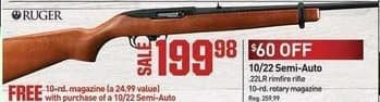 Dicks Sporting Goods Black Friday: Ruger 10/22 Semi-Auto Rifle + 10-rd Magazine for $199.98