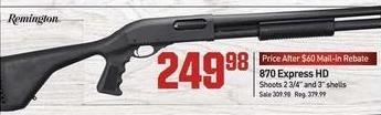 Dicks Sporting Goods Black Friday: Remington 870 Express HD Shotgun for $249.98 after $60.00 rebate