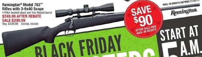 Cabelas Black Friday: Remington Model 783 Rifle w/ 3-9x40 Scope for $249.99 after $50.00 rebate