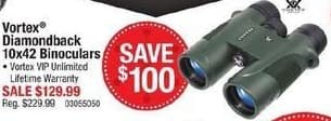 Cabelas Black Friday: Vortex Diamondback 10x42 Binoculars for $129.99